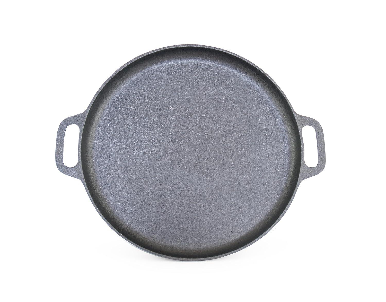 """ForHauz Pre-Seasoned Cast-Iron Griddle/Pizza Pan, 14"""", Black"""