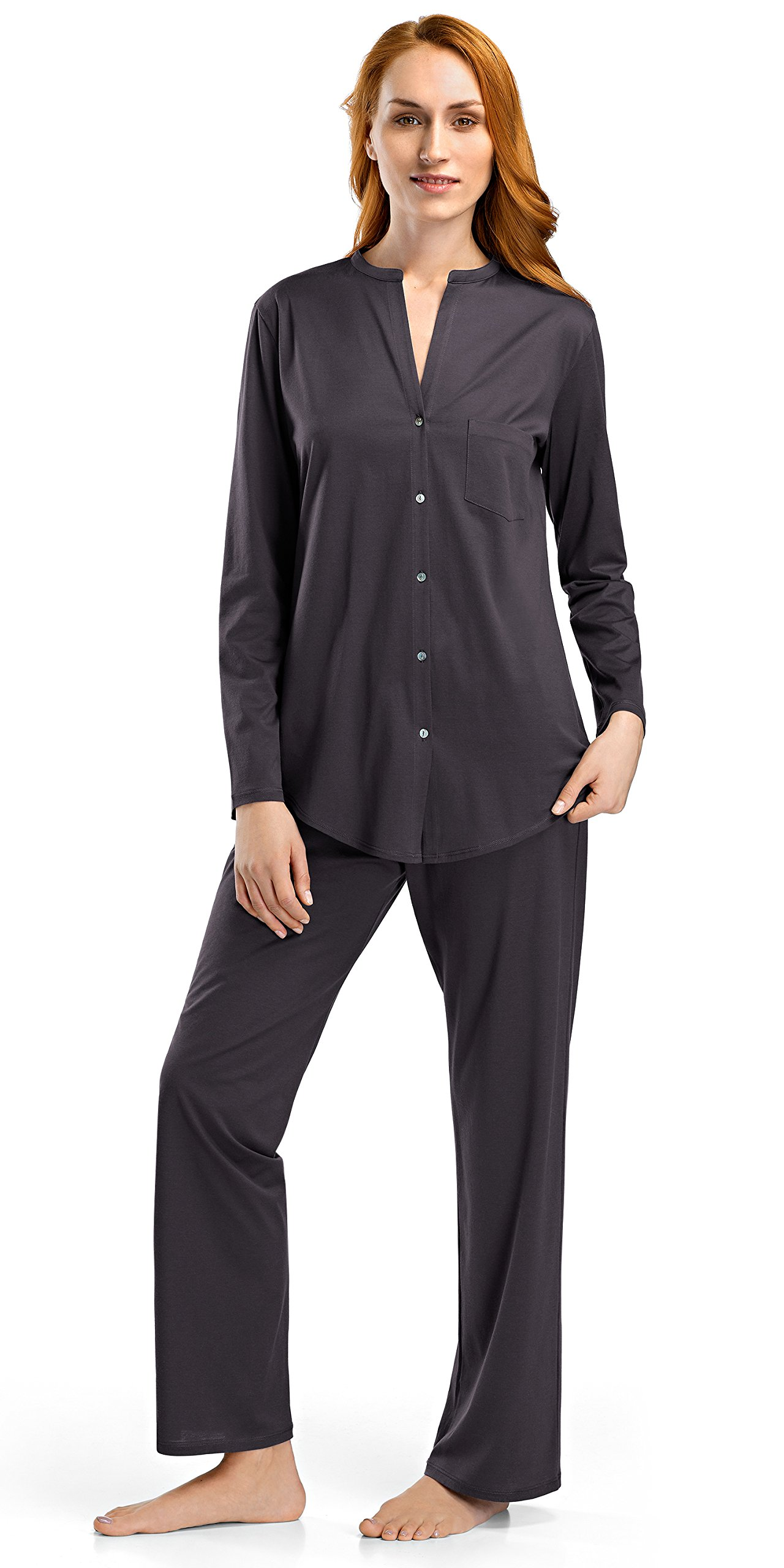 Hanro Women's Cotton Deluxe Long Sleeve Pajama Set, Carbon, Small