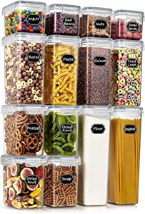Wildone Airtight Food Storage Containers - BPA Free Cereal & Dry Food Storage Containers Set of 14 for Sugar, Flour, Snack, Baking Supplies, Grey Lid with 20 Chalkboard Labels & 1 Marker