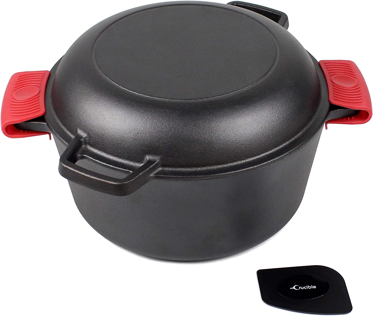 "Cast Iron Dutch Oven with Skillet Lid - 10.23"" diameter, 5 qt - Multi Cooker Stock Pot For Frying, Cooking, Baking & Broiling + 2 silicone potholders"