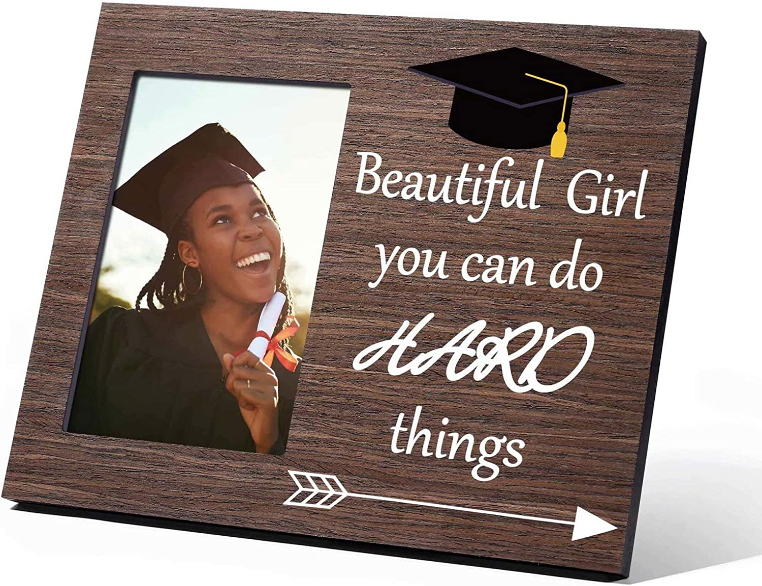2021 Graduation Gifts for Her, Beautiful Girl You Can Do hard things Class of 2021 Grad Present Inspirational High School College Graduation Gifts for Women Teen Girls, Picture Frame 4x6 Wood
