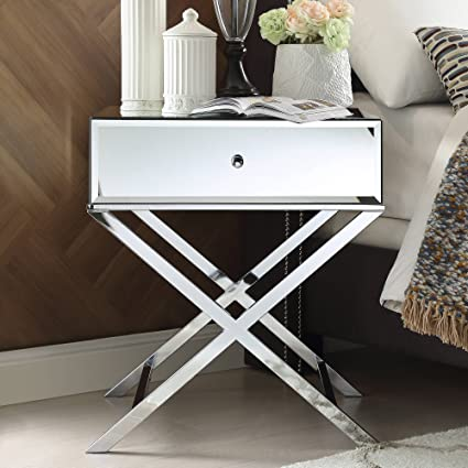 Merveilleux Chelsea Lane Mirror End Table With Drawer, Chrome