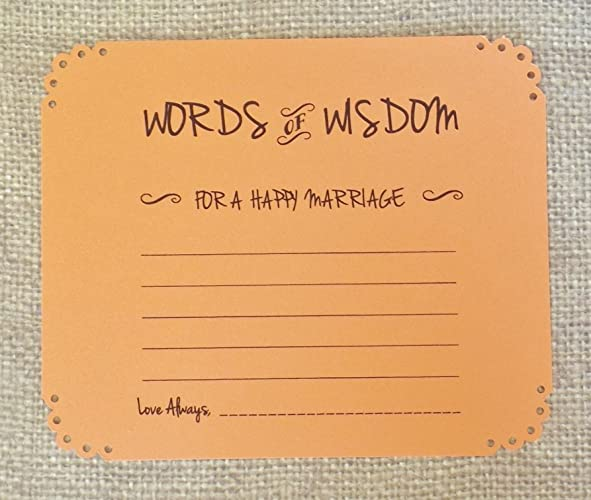words of wisdom advice cards in orange wedding and bridal shower wishes guest book