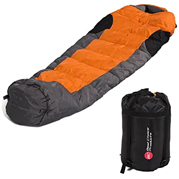 Best Choice Products Mummy Sleeping Bag With Carrying Case Orange Grey Black