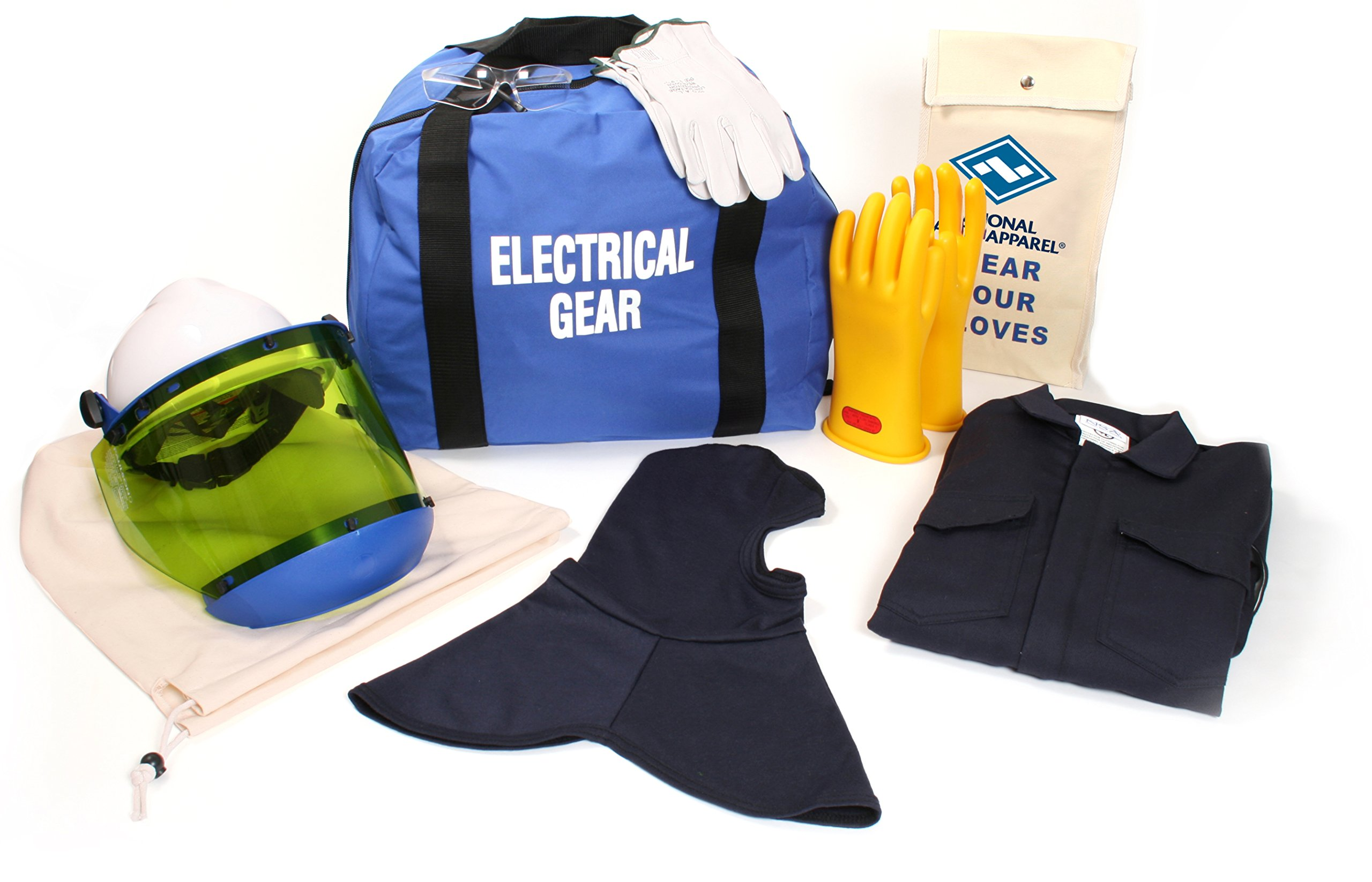 National Safety Apparel KIT2CV08BMD12 ArcGuard UltraSoft Arc Flash Kit with Coverall and Balaclava, 8 Calorie, Medium, Size 12, Navy
