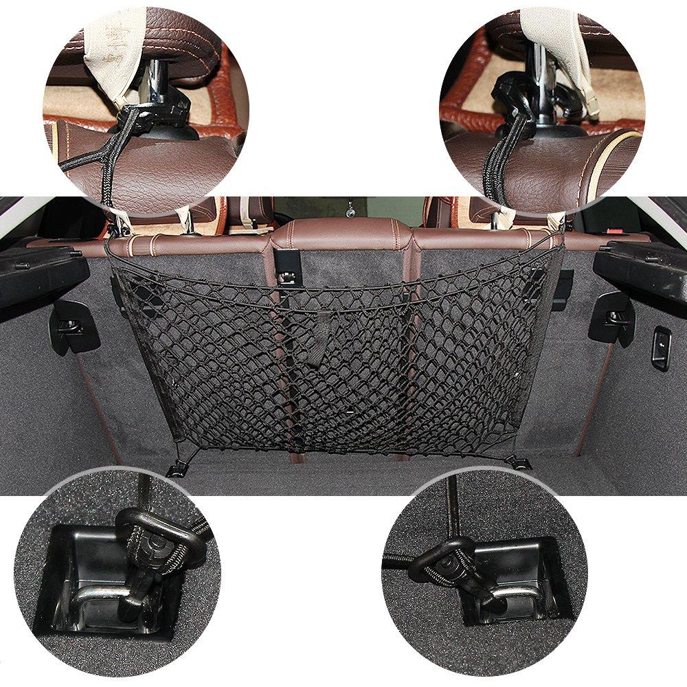f/ácilmente acoplable Organizador negro de malla para veh/ículos de almacenamiento de carga de calidad Premium con malla el/ástica y duradera 80*40 cm Red El/ástica Conveniente f/ácil de usar