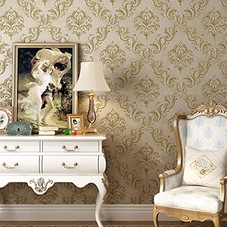 Blooming Wall Bronze Textured Damasks Removable Wallpaper Wall