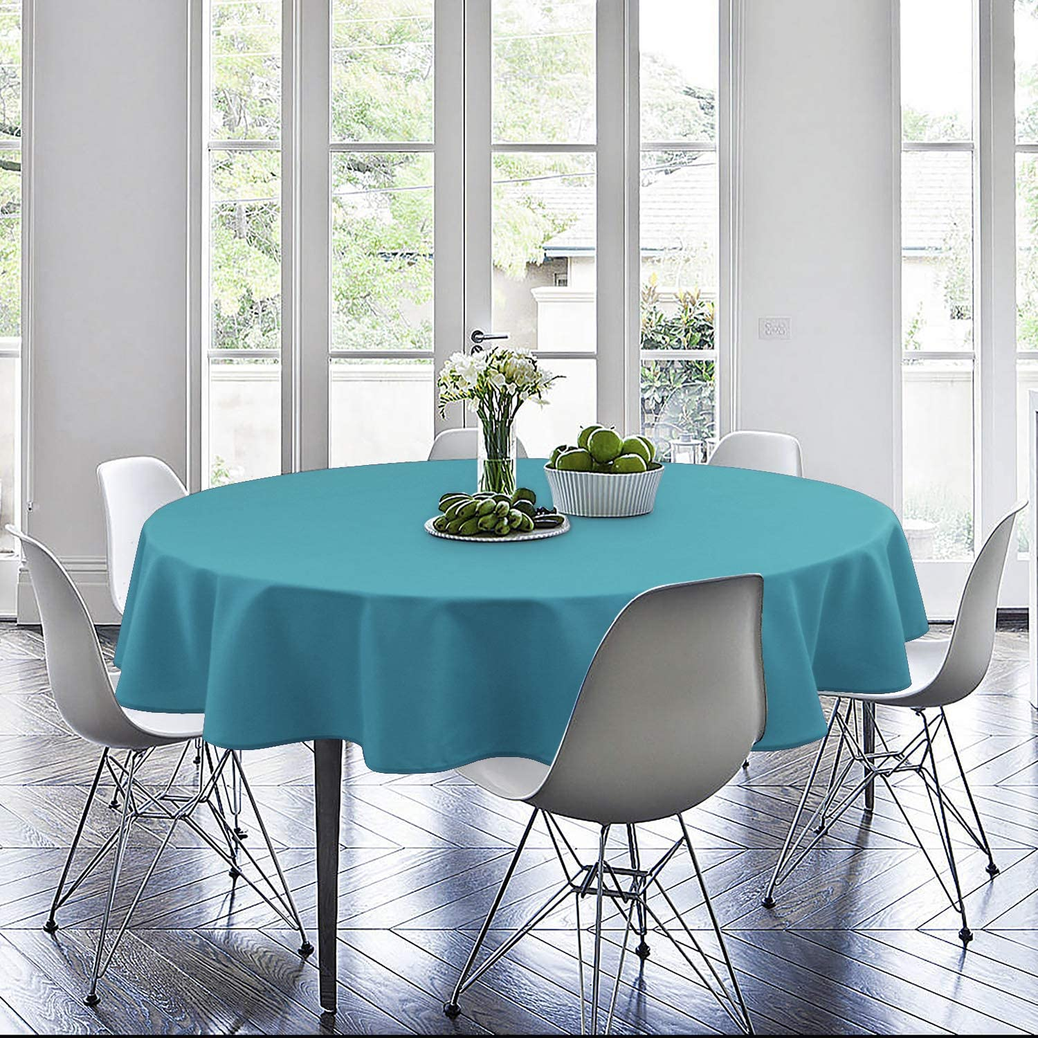 Hiasan Round Tablecloth 60 Inch Aqua Waterproof Stain Resistant Spillproof Polyester Fabric Table Cloth for Dining Room Kitchen Party