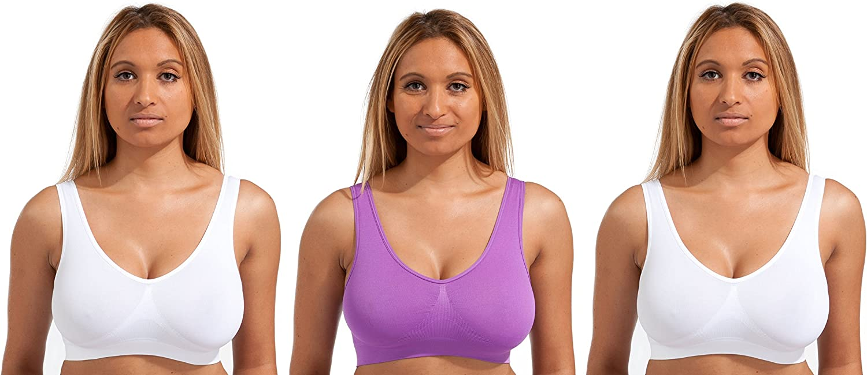 Beauty Bra/® 3 Pack Seamless Comfort Bra Women Girls Crop Top Seamless Sleep in Yoga Bralette Leisure Stretch Sports Vest Wide Straps White Black Beige Wire Free