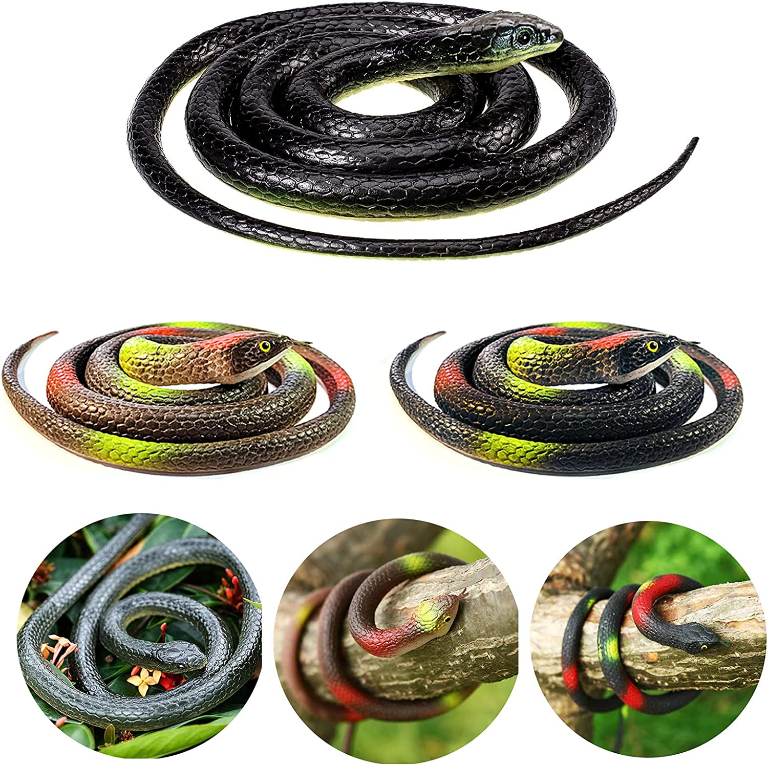 OLJHFG 8 PCS Large Realistic Rubber Fake Snakes Toys That Look Real Black Mamba Snake for Garden Props to Scare Birds Squirrels and Prank Stuff
