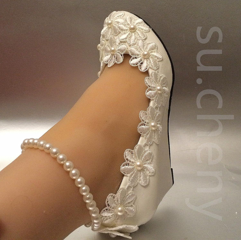 JINGXINSTORE Weißer Keil Keil Keil Perlen Anklet Lace Hochzeit Schuhe Braut Größe 5-10,5 B07DC9KP5Y Tanzschuhe Schöne Kunst 99e471