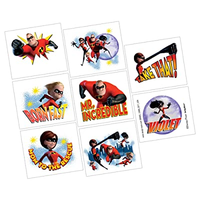 "amscan Disney/Pixar Incredibles 2"" Tattoos, Party Favor: Toys & Games"