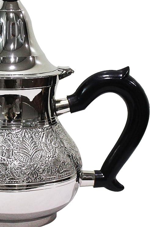 Jarra en el estilo de Marrakech como decoraci/ón para el hogar o la cocina Cafetera Oriental con Mango y Filtro integrado Tetera de oro marroqu/í hecha de lat/ón Abidin 1000 ml