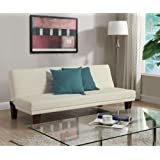 DHP Dillan Convertible Futon Couch Bed with Microfiber Upholstery and Wood Legs - Vanilla