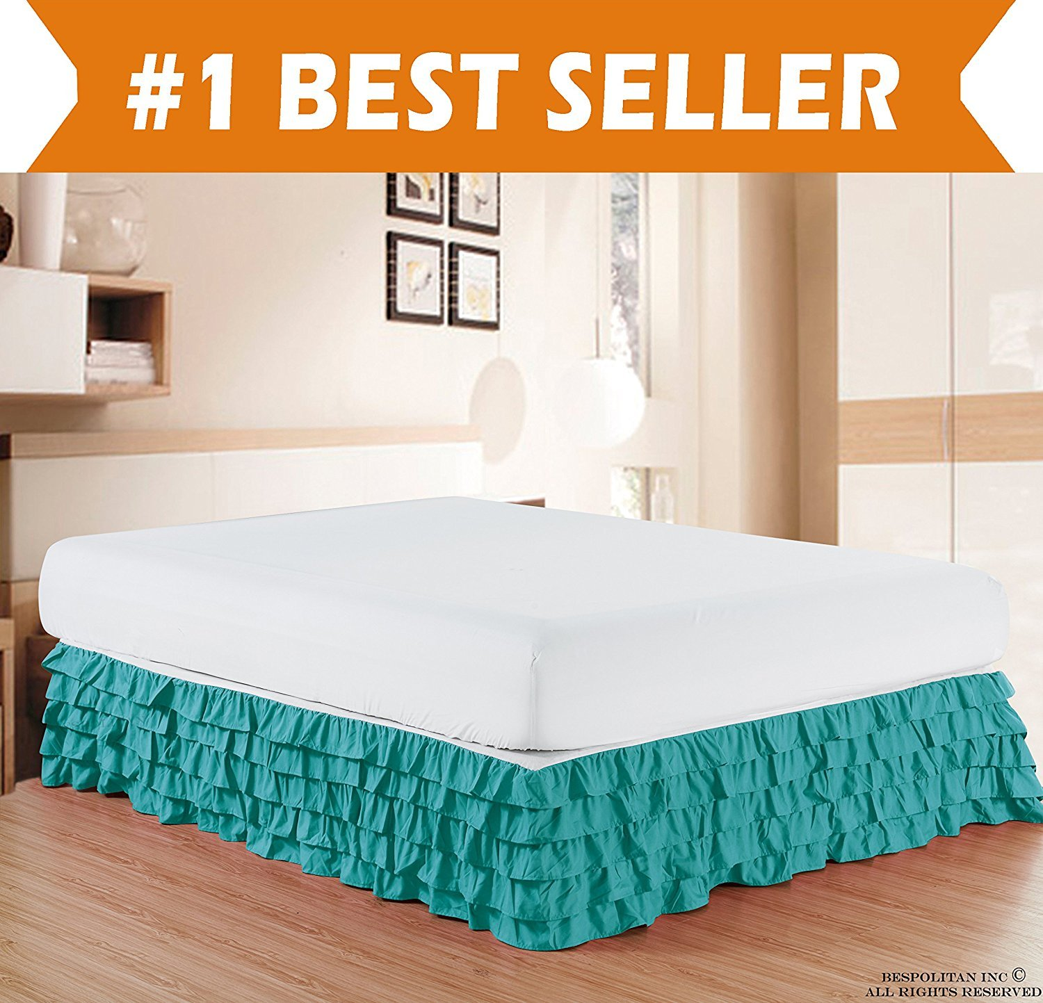Microfiber Multi-Ruffle Bed Skirt - 15 inch Drop, Twin, Turquoise