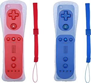 Poglen 2 Packs Wireless Gesture Controller Compatible for Wii Wii U Console (Red and Deep Blue)