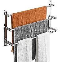 SDWCWH Handdoekrek, badkamer, handdoekhouder, badkamer, wandrek, handdoekhouder van aluminiumlegering, met 3 stangen en…