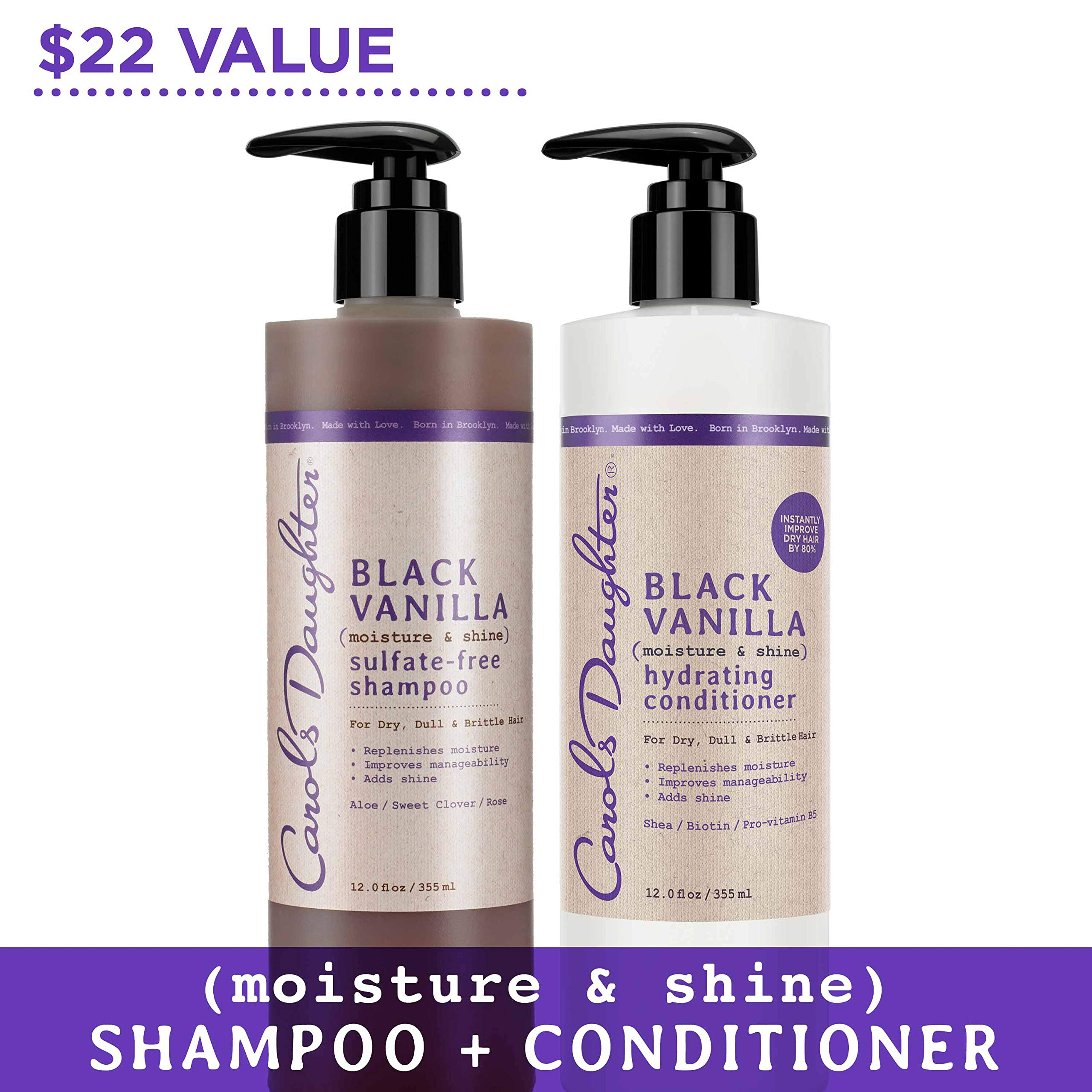 Carol's Daughter Black Vanilla Hair Care Gift Set for Dry/Dull & Brittle Hair by Carol's Daughter