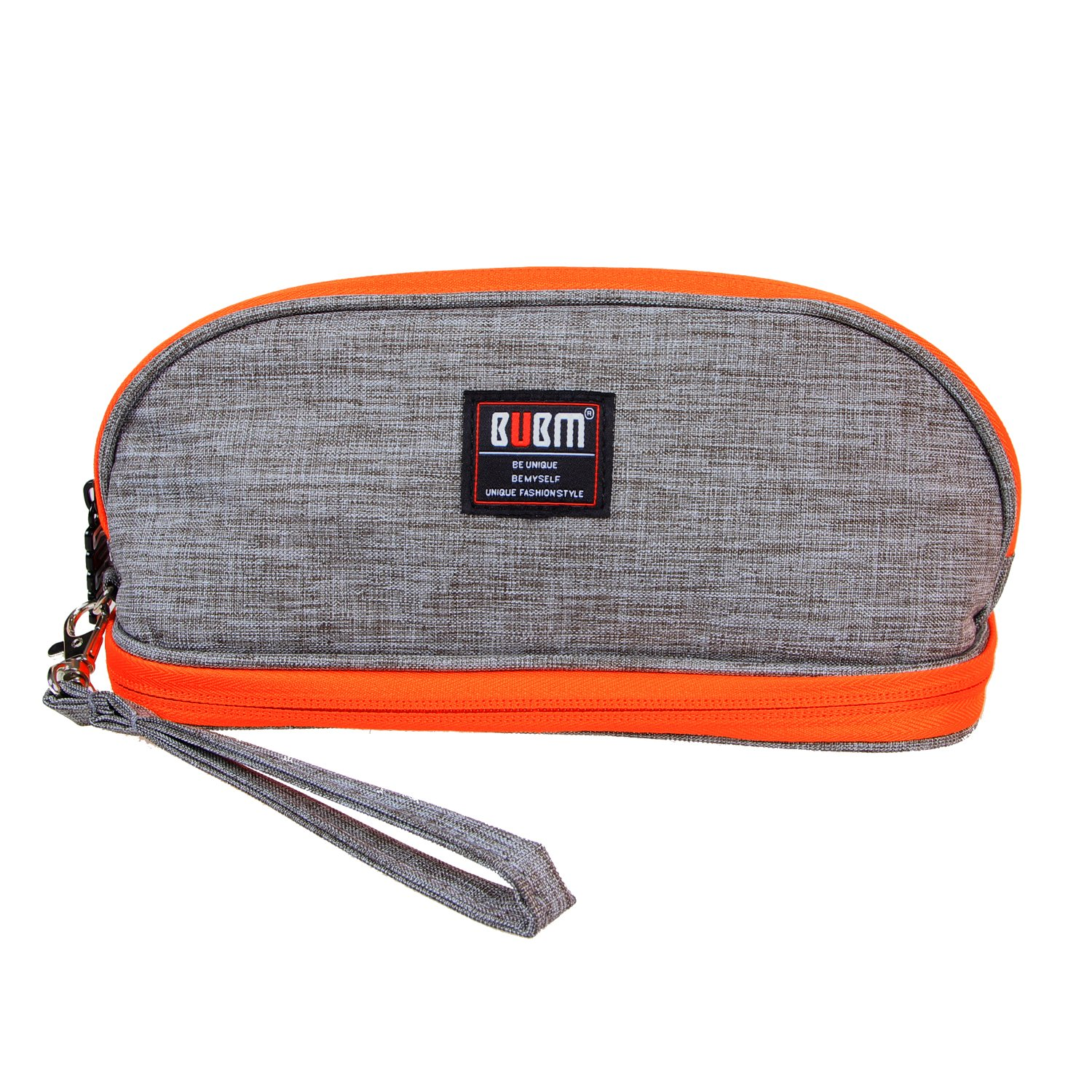BUBM Makeup Bag, Portable Travel Carry Bag Organizer with Handle for Women Cosmetics and Toiletry Kits, Compact and Lightweight, Easy to Carry( Gray and Orange)