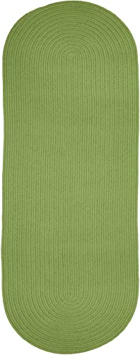 Super Area Rugs Maui Braided Rug Indoor Outdoor Rug Washable Reversible Green Patio Porch Kitchen Carpet, 2 X 8 Oval Runner