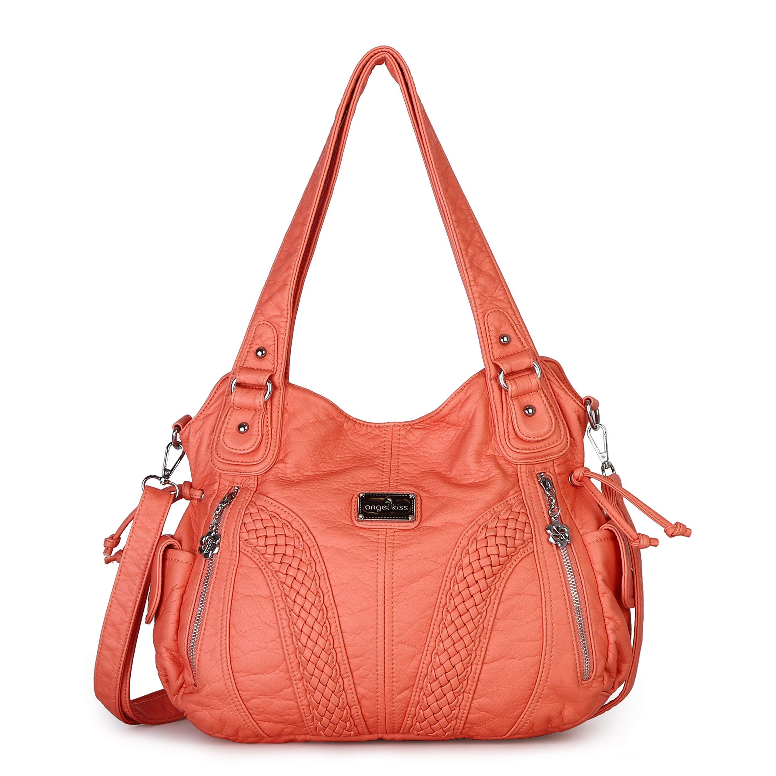 Angelkiss Women Top Handle Satchel Handbags Shoulder Bag Messenger Tote Washed Leather Purses Bag (D.Grey) …