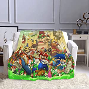 Yoaug Mario Sonic Throw Blanket, Super Soft Air Conditioning Warm Blankets Light Weight for All Season Living Room/Bedroom 50