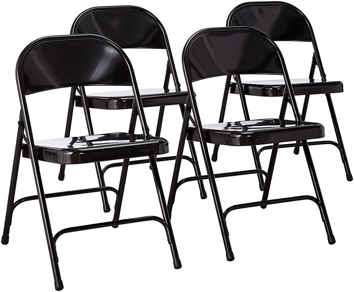 National Public Seating 50 Series All Steel Standard Folding Chair with Double Brace, 480 lbs Capacity, Black (Carton of 4)