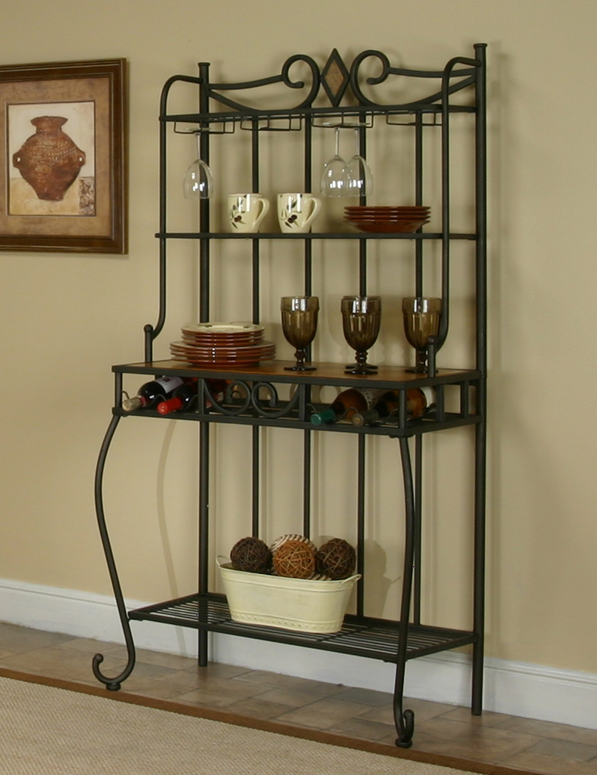 Sunset Trading CR-Y2091-85 Sunset Dart Dining Bakers Rack Wine, Espresso Frame with Slate Accents and Light Oak top