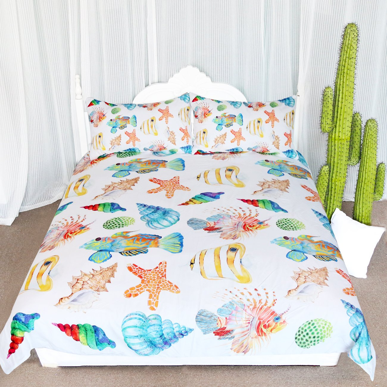 ARIGHTEX Cute Ocean Creatures Bedding, Seashell Bedding Duvet Cover Set, Beach Themed Duvet Covers (Queen)