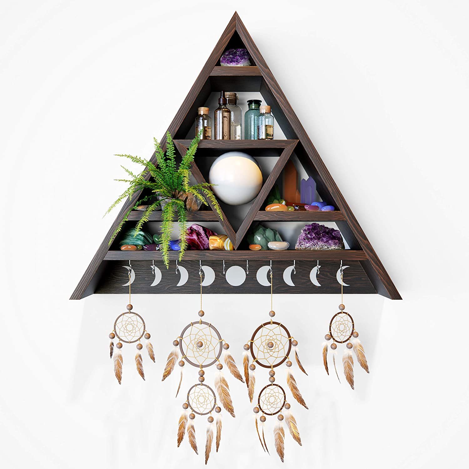 AMERICA EMPIRE Meditation Triangle Shelf for Crystals   Triangle Wall Shelf. Crystal Shelf Display for Stones. Witchy Decor for The Home, Crystal Holder. Crystal Display Shelf   Witchy Home Decor