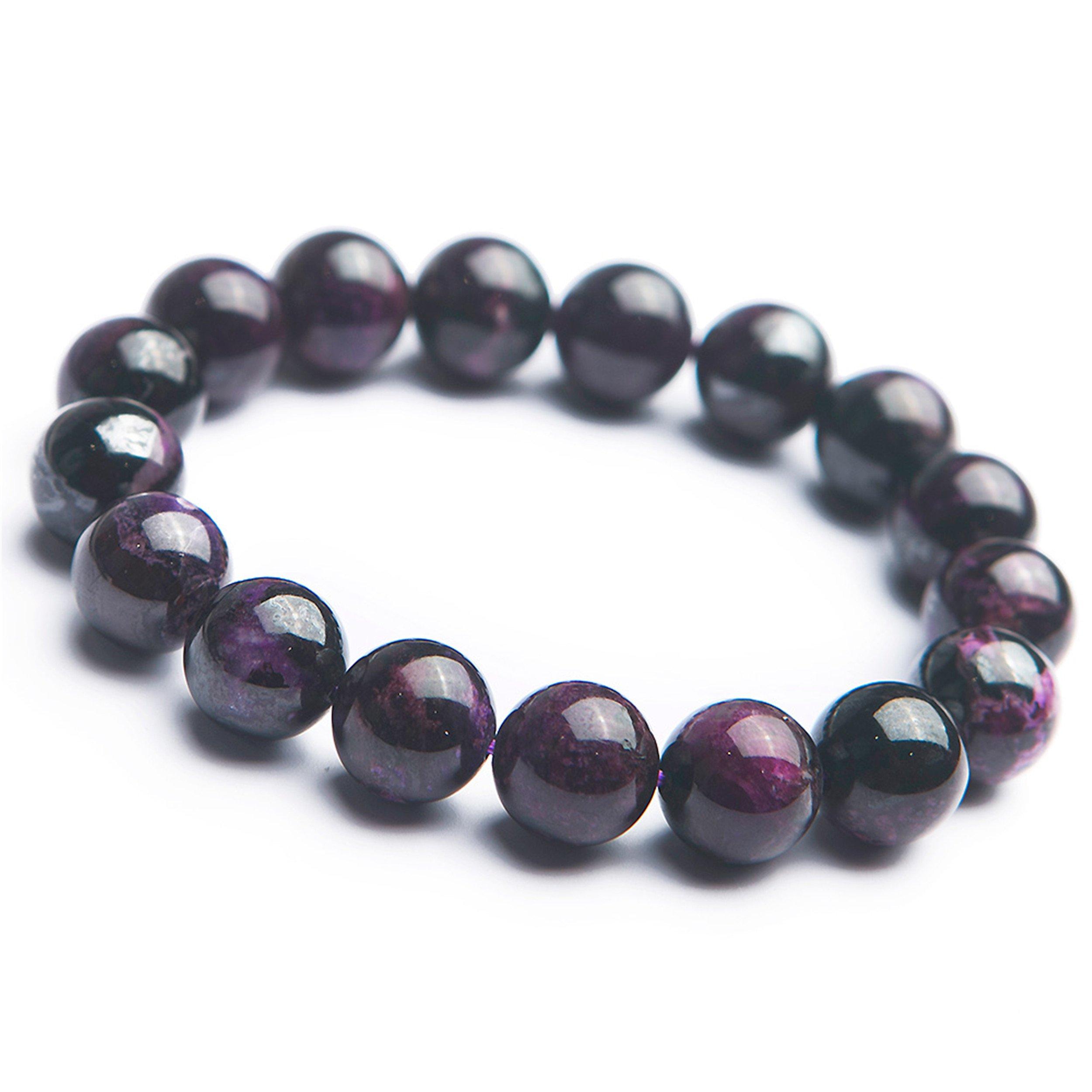 12.5mm Purple Natural Sugilite Gemstone Round Crystal Bead Stretch Bracelet