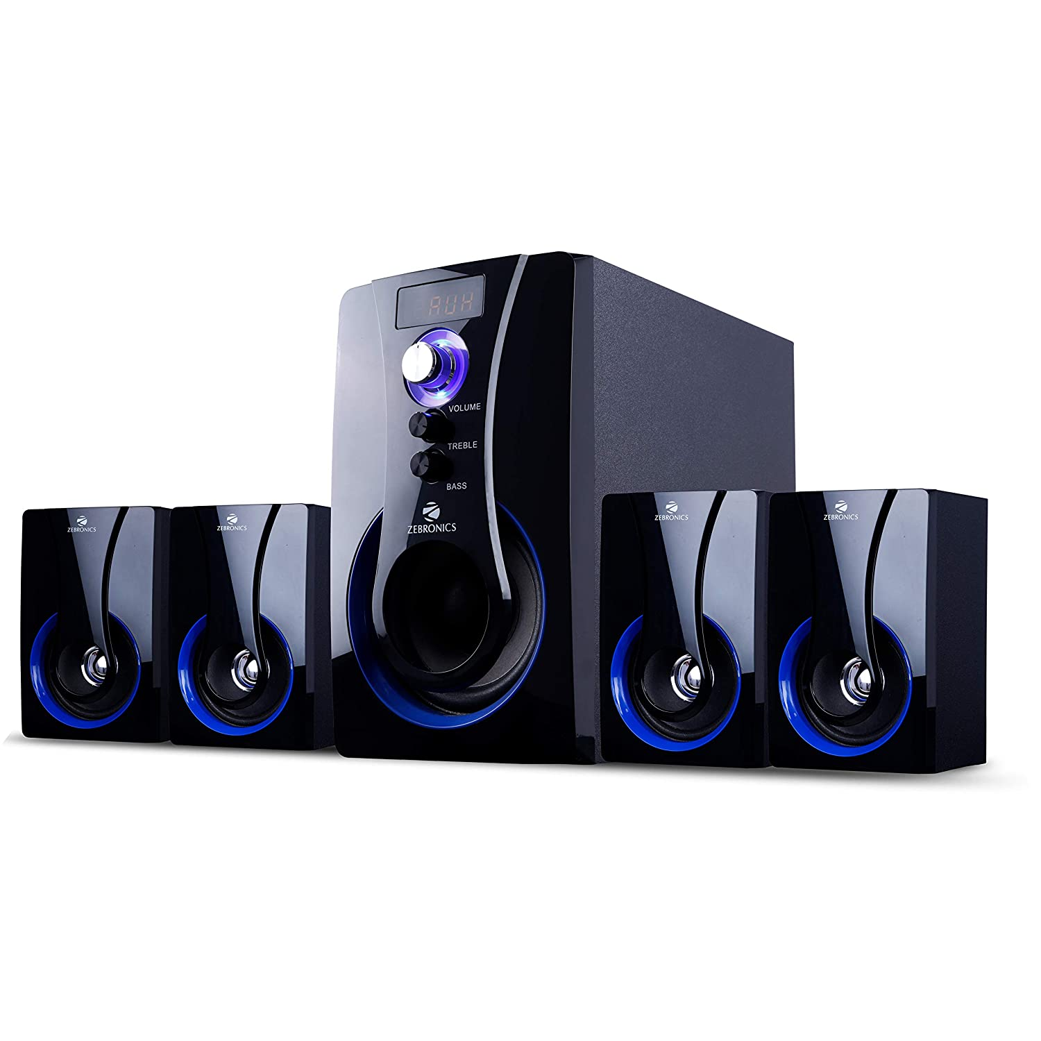 Renewed  Zebronics 4.1 Multimedia SW3490 RUCF Wired Home Audio Speaker Black, 4.1 Channel PC Speakers