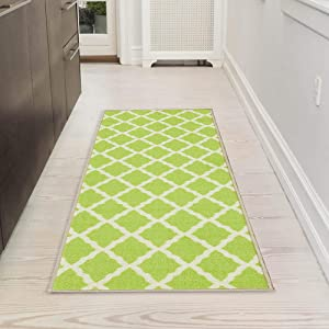 "Ottomanson Glamour Collection Contemporary Moroccan Trellis Design Lattice Runner Rug (Non-Slip) Kitchen and Bathroom Mat, 20"" X 59"", Green"