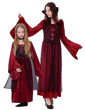 IKALI Disfraz de Vampiro Niña, Niño Vampiresa Gótica Princesa Reina Traje para Halloween Carnaval Parte