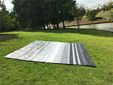 Grey Stripe Fabric Size19Feet 2 Inch Awnlux Replacement Vinyl Fabric for 20 Feet Roll Up Awning Black Fade Color Waterproof Fabric