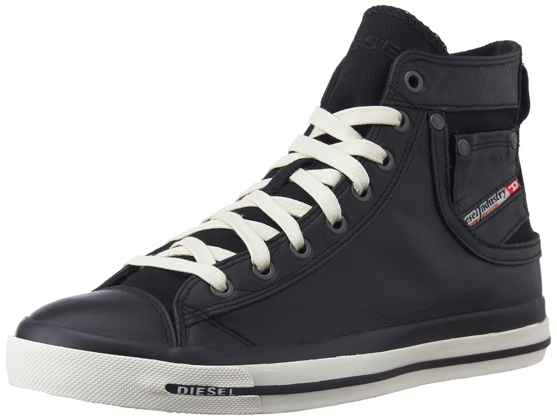 TALLA 41 EU. Diesel Magnete Exposure I - Sneaker - Zapatillas de Cuero para Hombre Negro Negro