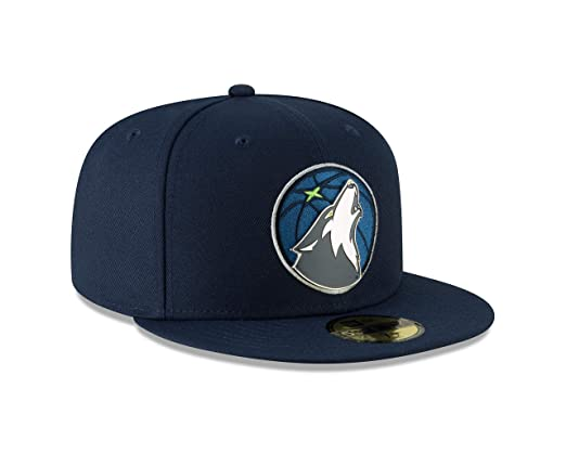 af7f6a91 Amazon.com : Minnesota Timberwolves Metal & Thread 59FIFTY Fitted Hat -  Navy : Clothing