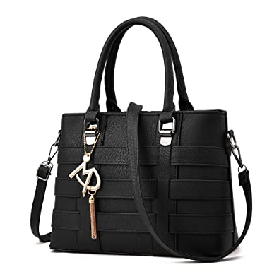 Amazon.com: Vincico Women Black PU Leather Top Handle Bags Satchel ...