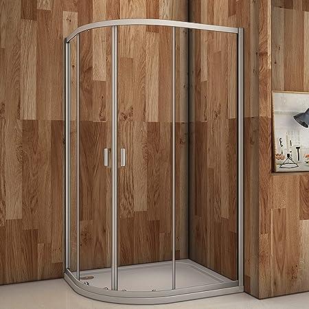 Cuadrante doble puerta corredera 6 mm cristal de seguridad Protector de esquina cubículo de ducha con plato de ducha y residuos, 800x1200mm: Amazon.es: Hogar