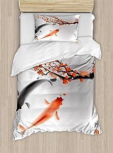 Ambesonne Japanese Duvet Cover Set, Koi Carp Fish Couple Swimming with Cherry Blossom Sakura Branch Culture Design, Decorative 2 Piece Bedding Set with 1 Pillow Sham, Twin Size, Orange Grey