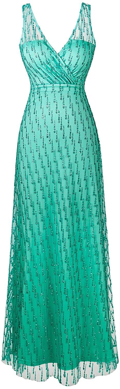 Angel-fashions de las mujeres V cuello de lentejuelas de malla acanalaba correas Vestido Largo