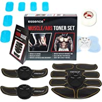essence' Abdominal Abs Trainer & Muscle Toner Ems Stimulator Machine - Includes Skin Tape & 6 Replacement Gel Pads + Bonus Full Body & Neck Tens Massager - Fitness Training & Rapid Muscles Toning