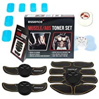 essence' Abs Trainer Abdominal Muscle Toner Ems Stimulator Machine – Rapid 8 Pack Ab Toning - Body Skin Tape & 6 Replacement Gel Pads Included + Bonus Full Body & Neck Tens Massager