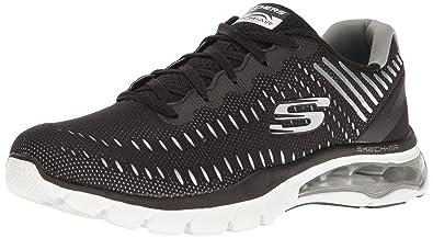 Skechers Sport Women's Skech Air Cloud Fashion Sneaker,Black/White,5 ...