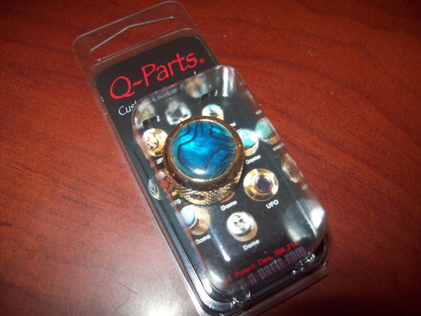 Q Parts Shell Dome Knob Single Gold Blue Abalone