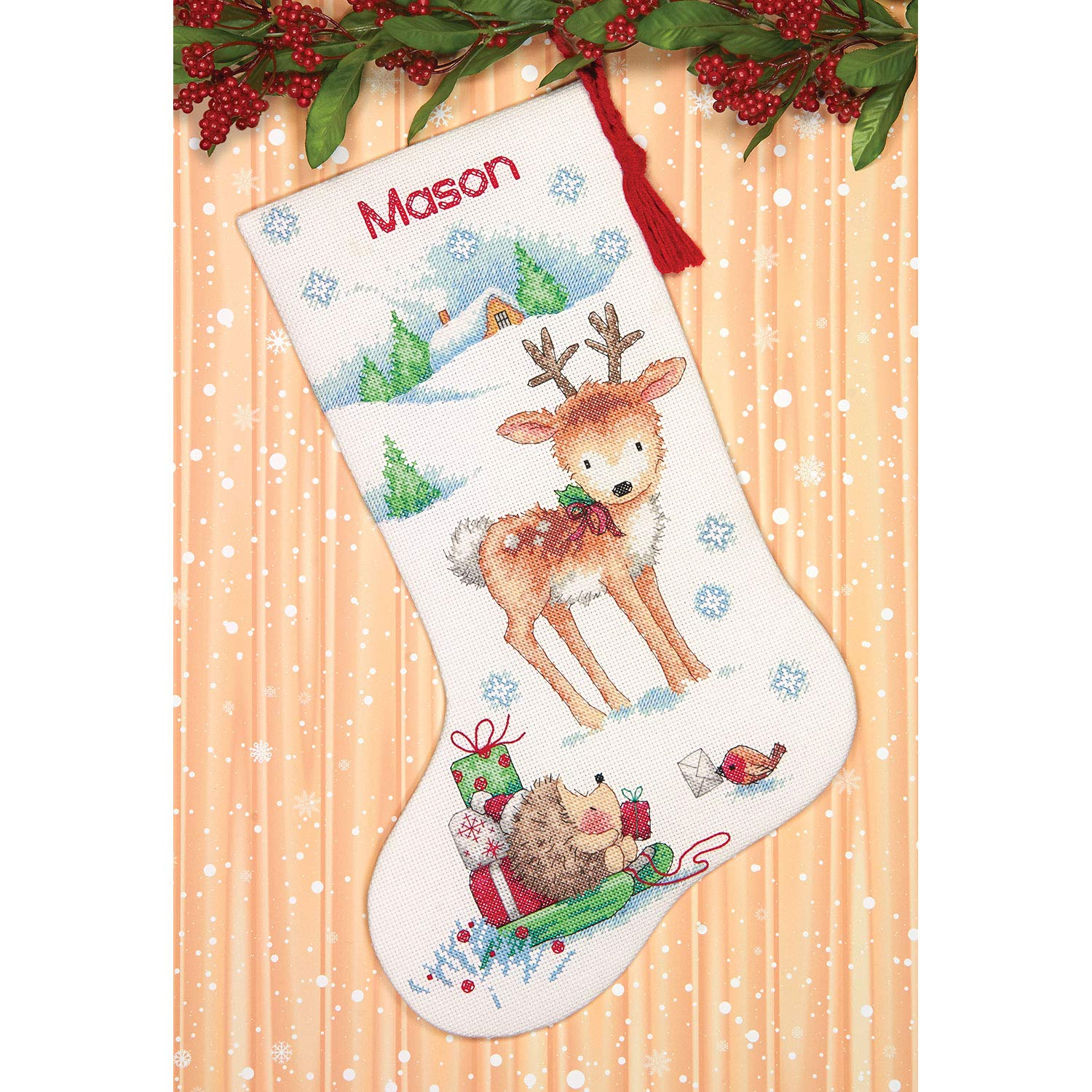 16 White 14 Count Aida Dimensions 70-08978 Cross Stitch Reindeer and Hedgehog Personalized Christmas Stocking Kit