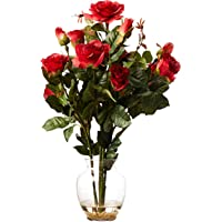 Rose Bush with Vase Silk Flower Arrangement