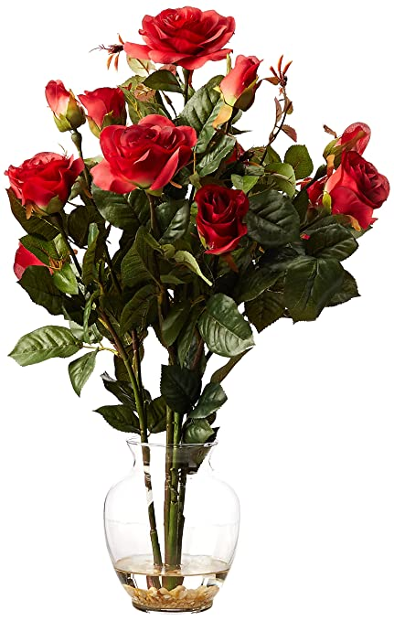 Amazon nearly natural 1281 rd rose bush with vase silk flower nearly natural 1281 rd rose bush with vase silk flower arrangement red mightylinksfo