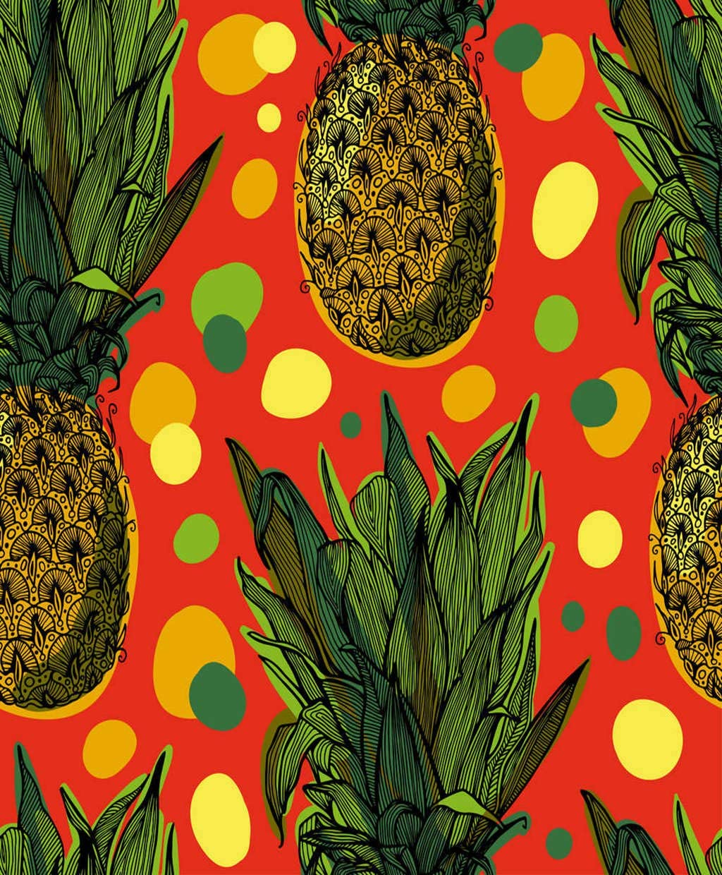 Qewhyn Tropical Fruits Poster Pineapple Sweet Fruit Ananas Exotic Wall Art Painting Print Home Artwork Decoration for Living Room Bedroom Office Unframed 18x24 lnches
