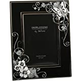 Butterfly & Flowers Black/Silver Glass Photo Frame